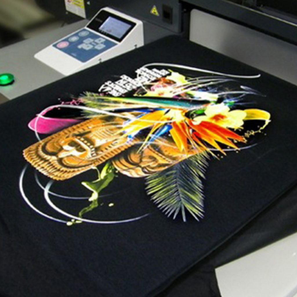printing process on a t-shirt